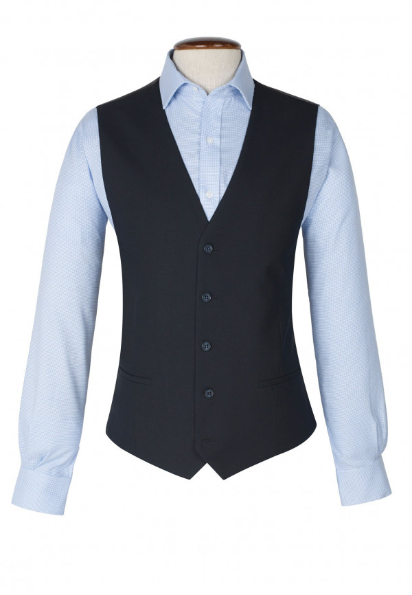 Dijon Navy Tailored Fit Three Piece Suit Waistcoat
