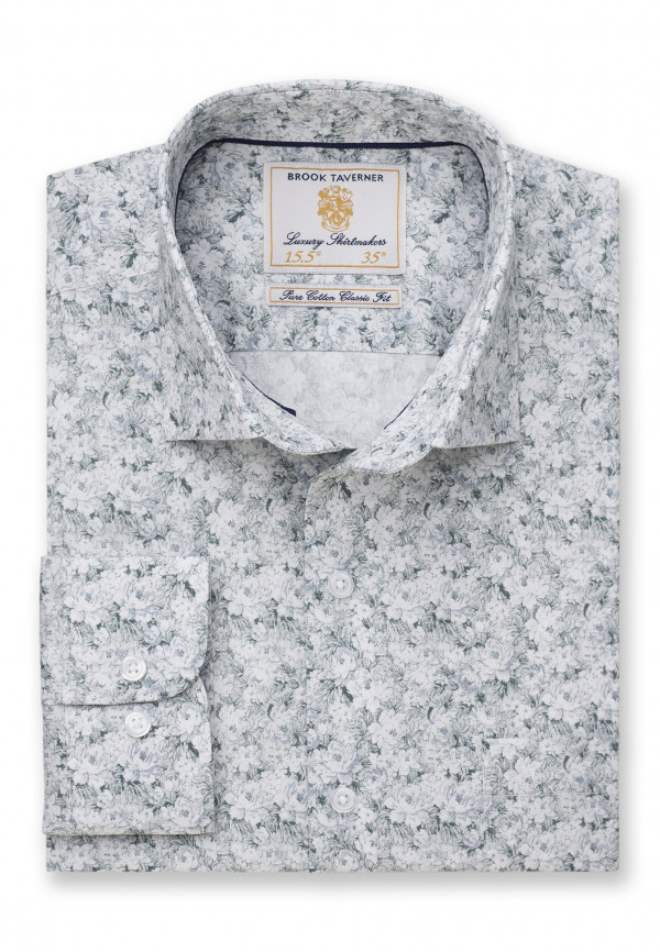 Classic and Tailored Fit Business Casual Sage Floral Print Shirt