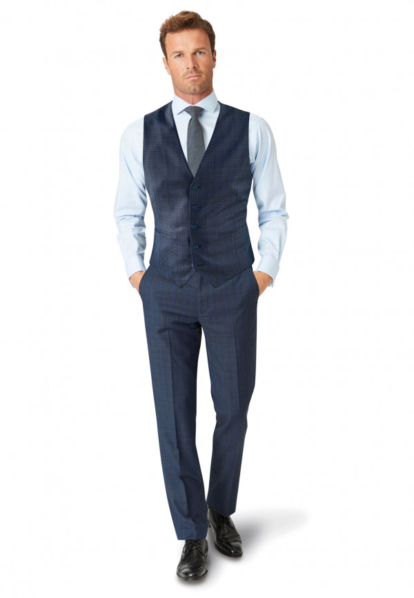 Hitchen Tailored Fit Three Piece Blue Check Suit Waistcoat