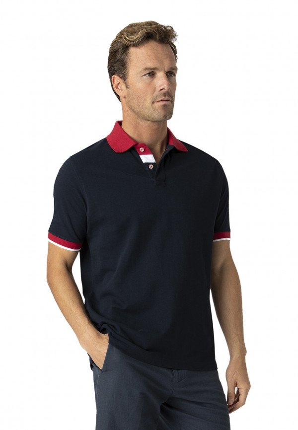 Lydford Navy With Red Trim Pique Polo