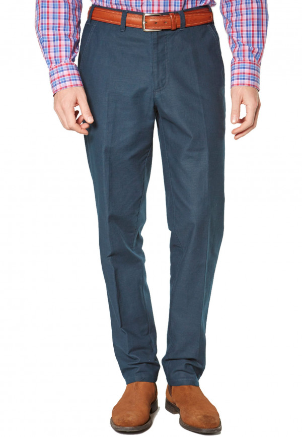 Navy Buckland Cotton Linen Tailored Fit Trouser