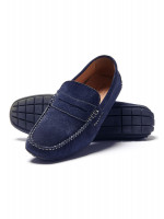 Sparks Mid Blue Suede Moccasin With Rubber Sole