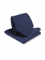 Plain Blue Hanky And Tie Set