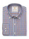 Non Iron Long Sleeve Navy And Mocca Gingham Single Cuff Shirt