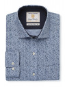 Classic And Tailored Fit Blue And Navy Flower Single Cuff Shirt