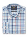 Aqua, Rose and Navy Check Button Down Collar Shirt