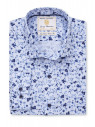 Blue With Navy and Blue Flower Shirt