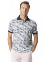 Bruton Garment Washed Blue, Apricot and Yellow Floral Print Piqué Polo Shirt
