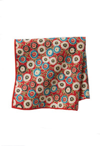 Red Floral Cotton Pocket Square