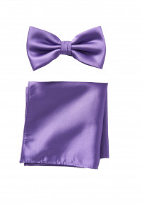 Purple Plain Satin Bow Tie & Hanky Set