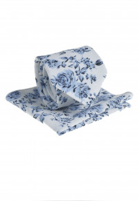 White And Blue Floral Pattern Tie & Hanky
