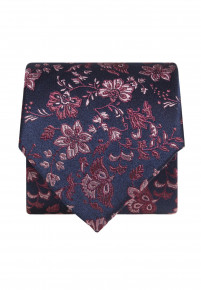 Blue with Red Floral Silk Tie