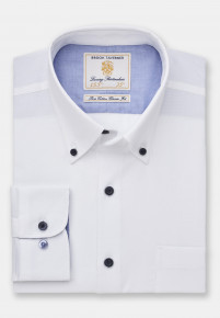 Classic and Tailored Fit Non-Iron Business Casual White Dobby Shirt