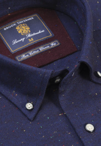 Navy with Multi Coloured Nep Brushed Cotton Donegal Twill Shirt