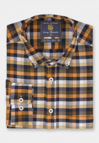 Classic and Tailored Fit Bronze with Navy Corn and Winter White Check Washed Cotton Oxford Shirt