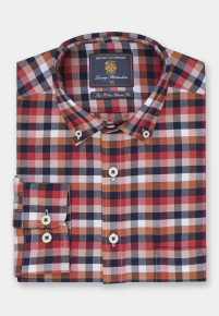 Classic and Tailored Fit Wine with Navy Bronze and Winter White Check Washed Cotton Oxford Shirt