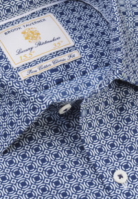 White with Navy Circles and Square Design Classic and Tailored Fit Business Casual Shirt