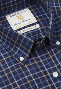 Navy With Gold And Blue Check Single Cuff Shirt