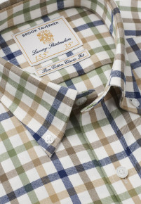 Navy, Beige, Gold And Olive Check Single Cuff Shirt