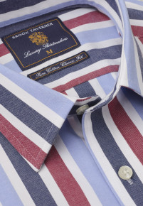 Navy, Red And Blue Stripe Single Cuff Shirt