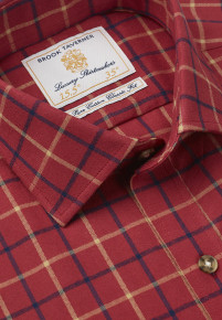 Berry With Mustard and Navy Check Single Cuff Shirt