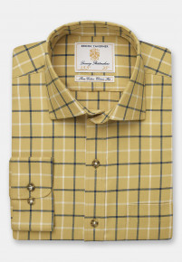 Mustard With Navy And Beige Check Single Cuff Shirt