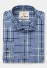 Blue With Navy And Beige Check Single Cuff Shirt
