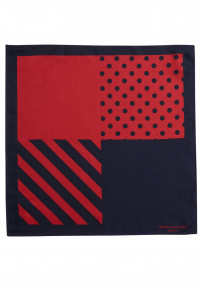 Red And Navy Pattern 100% Silk Hanky