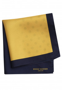 Yellow And Navy Pattern 100% Silk Hanky