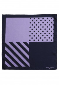 Lilac And Navy Pattern 100% Silk Hanky