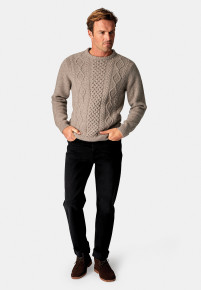 Stanbury Winter Stone Nep 5 Gauge 'Traditional' Aran Cable Front Jumper