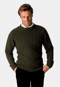 Stanbury Forest Green Nep 5 Gauge 'Traditional' Aran Cable Front Jumper