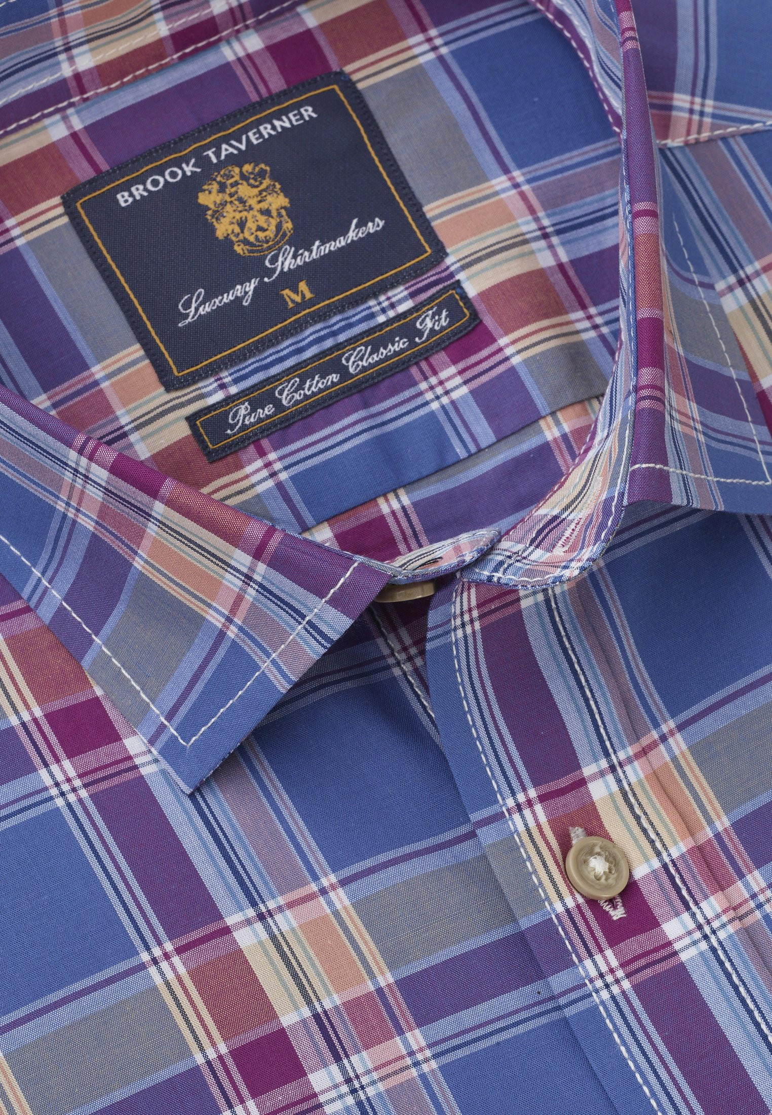 Long and Short Sleeve Sea Blue, Apricot and Strawberry Check Classic Fit Shirt