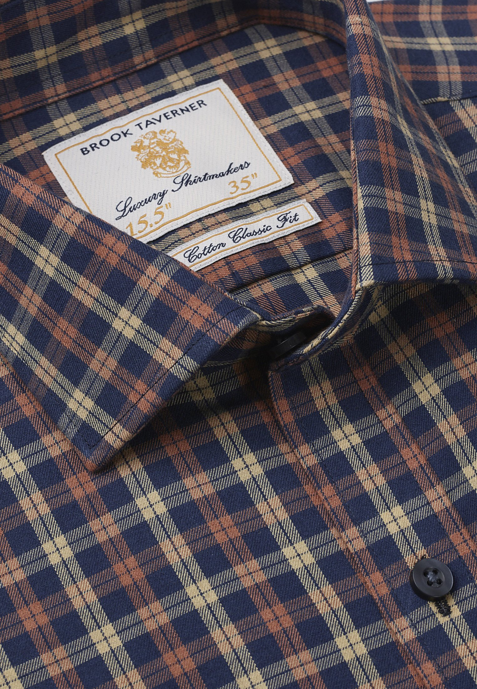 Navy With Gold And Orange Check Single Cuff Shirt