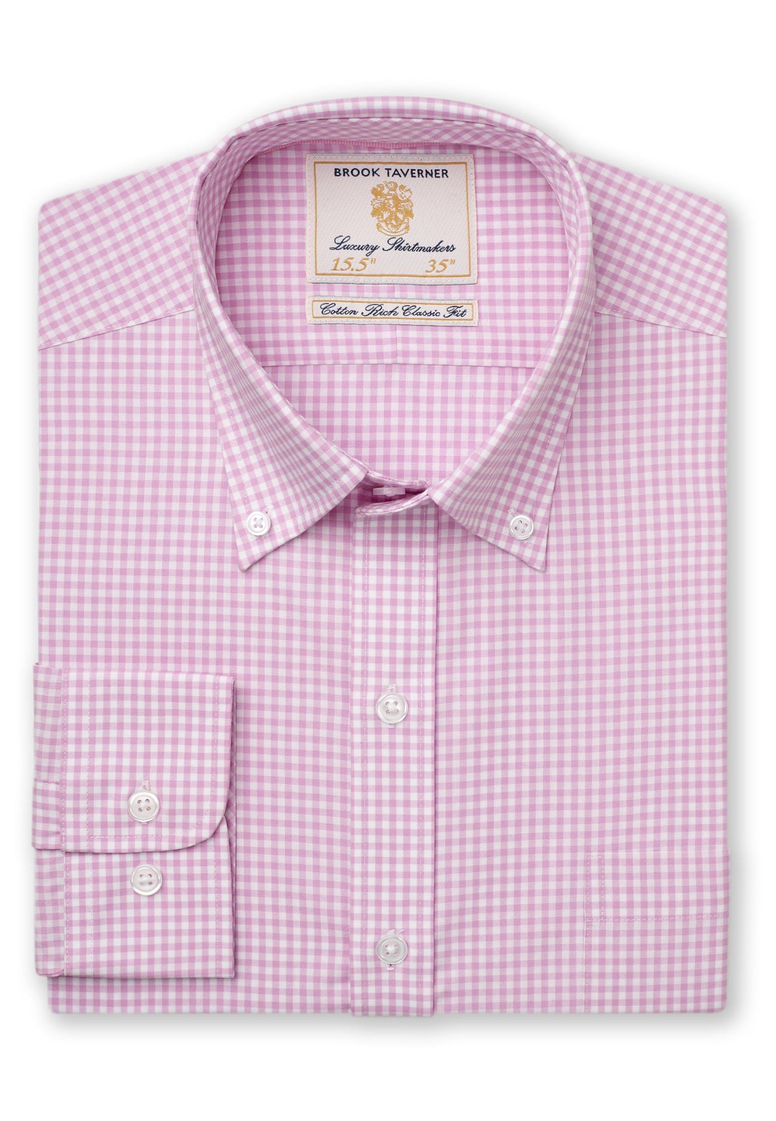 Classic And Tailored Fit Pink Gingham Single Cuff Shirt