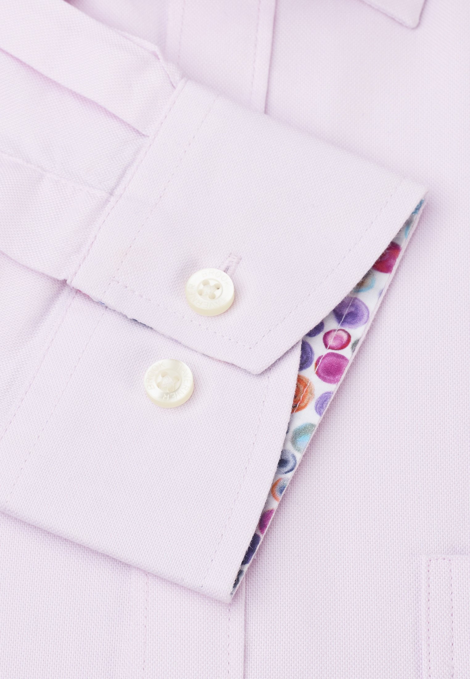 Long Sleeve Classic Fit Pink Oxford with Coloured Trim Shirt
