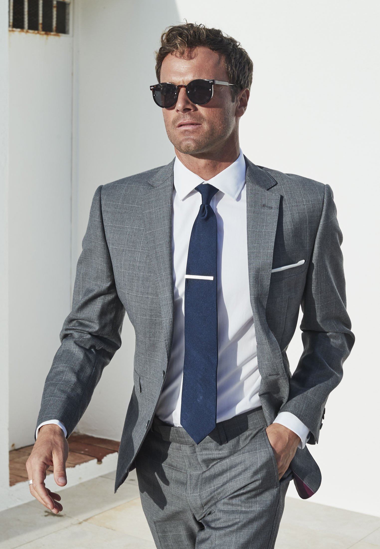 Grey Miller Tailored Fit 'Yorkshire' Pure New Wool Check Suit