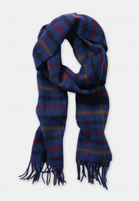 Red, Blue, Mustard And Black Check 100% Lambswool Scarf