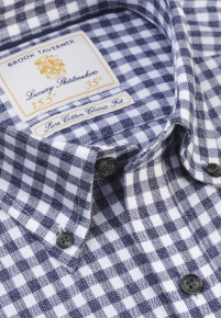 Navy Melange Check Lightly Brushed Classic and Tailored Fit Business Casual Shirt