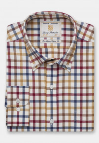 Navy, Red, Mocca And Gold Check Single Cuff Shirt