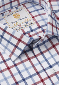 Navy, Blue And Red Check Single Cuff Shirt