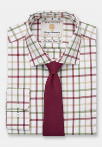 Rouge, Olive And Gold Check Single Cuff Shirt